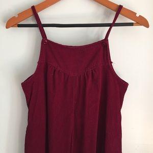 Vintage corduroy maroon jumper overall dress 423